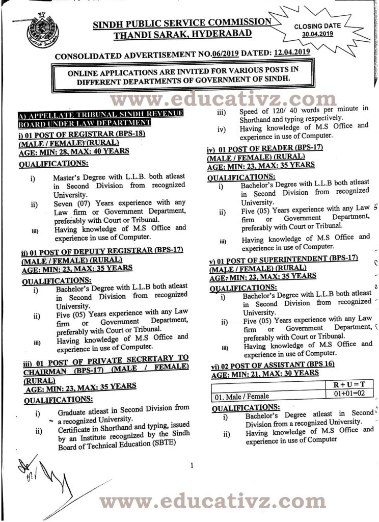 Jobs in SPSC Consolidated Advertisement No 06/2019 6/2019