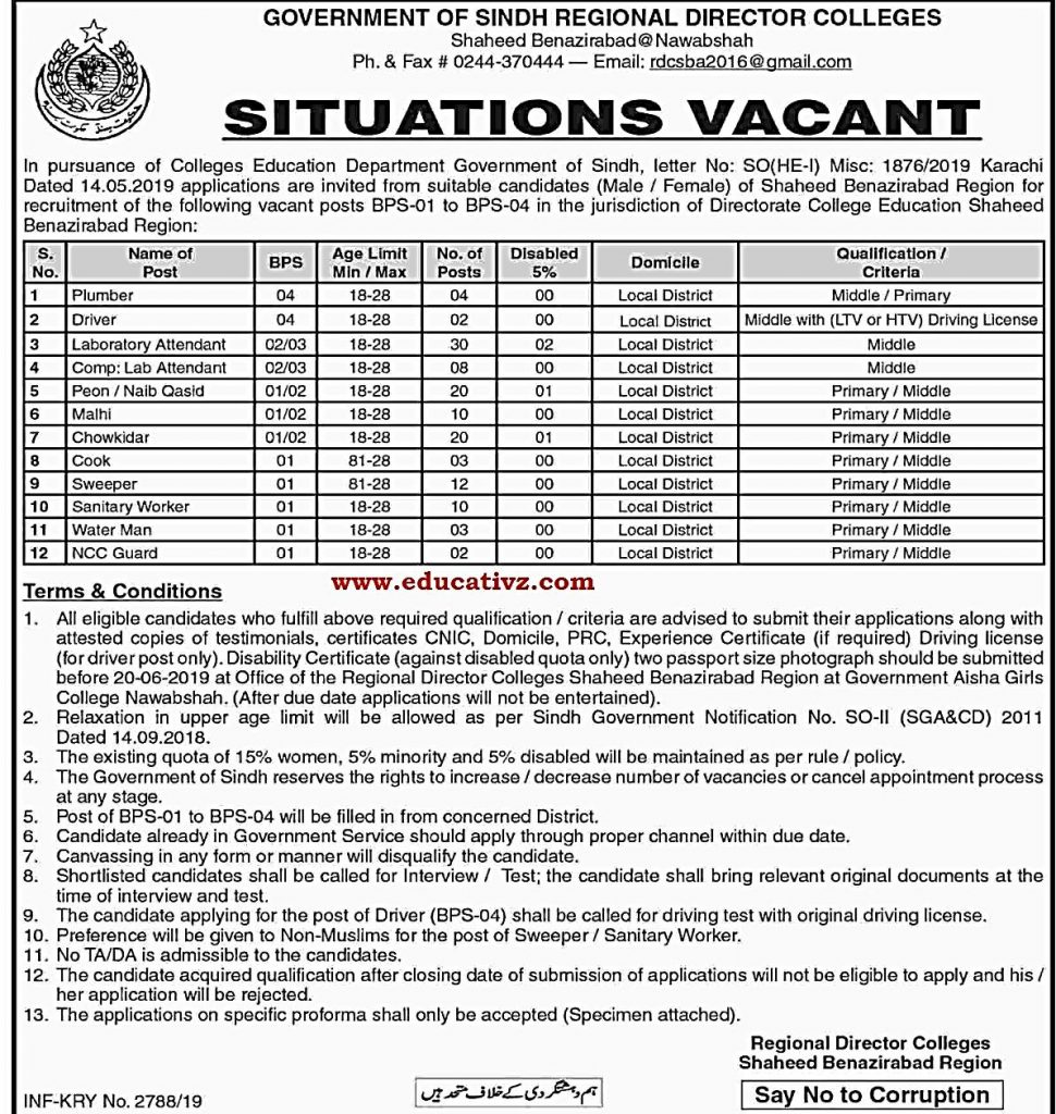 Directorate of College Education Jobs