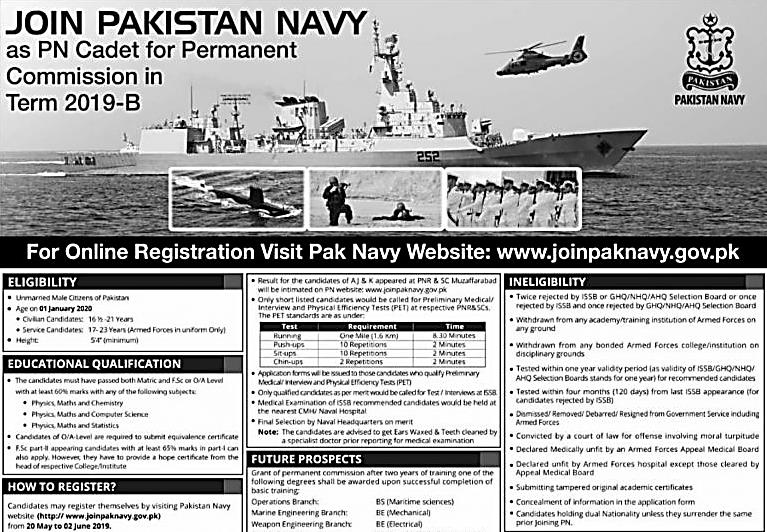 Join Pak Navy 2019 PN Cadet Permanent Commission Apply