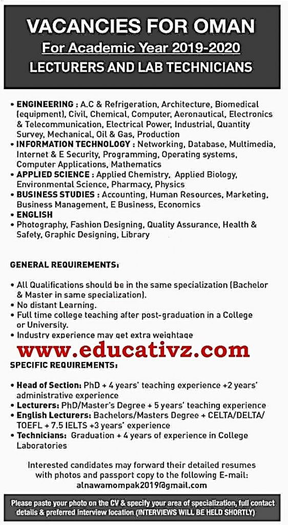Teaching Jobs 2019 Oman For Pakistanis Lecturers & Others