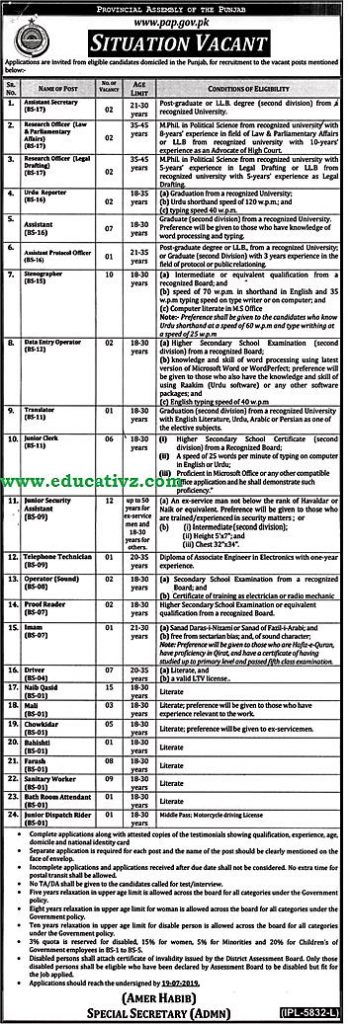 Provincial Assembly of Punjab Jobs 2019