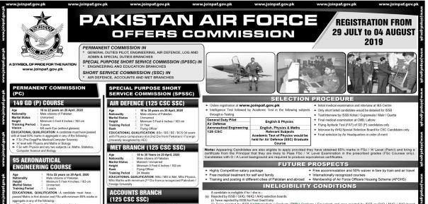 Join Pakistan Air Force as Officers 2019