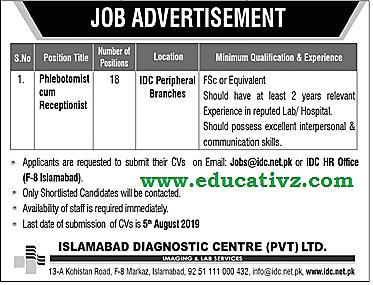 Jobs in Islamabad Diagnostic Centre 2019