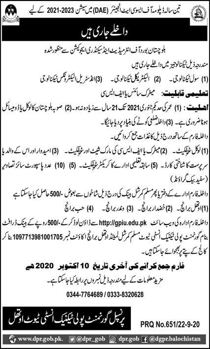Government Poly Technique Institute Othal Admissions 2020 Latest Balochistan