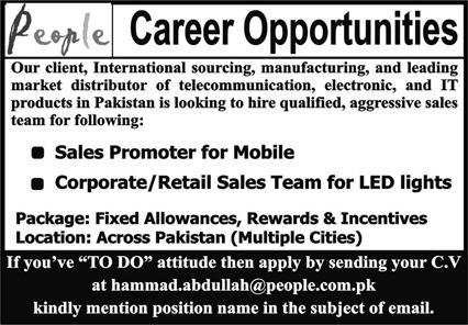 Private Company Jobs 2020 for Sales Promoter for Mobile & Corporate Sales Team Latest Pakistan