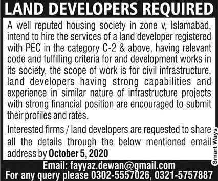 Private Company Jobs 2020 for Land Developers Latest Islamabad