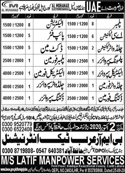 Al Muhanad Jobs 2020 UAE for Plumber, Electrician, AC Technician, Electrical Forman, Pipe Fitter & Others Latest