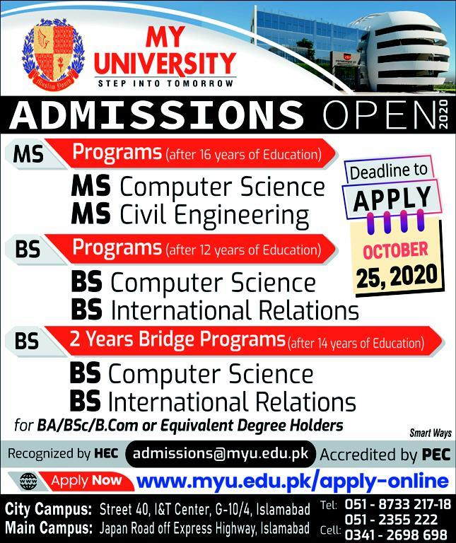 Admissions in My University Apply Online