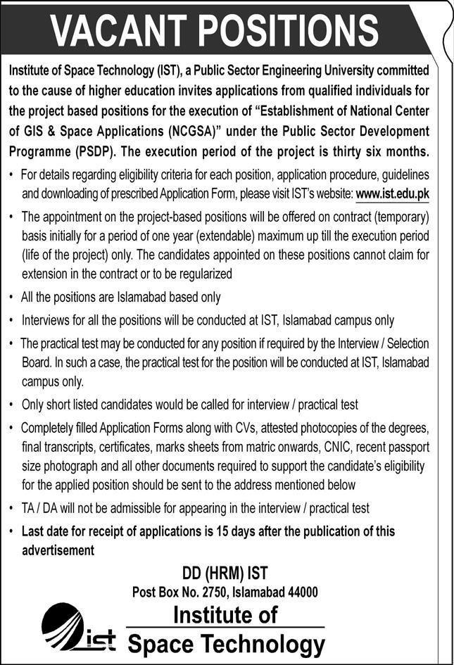 Institute of Space Technology (IST) Jobs October 2020 Islamabad Application Form Latest