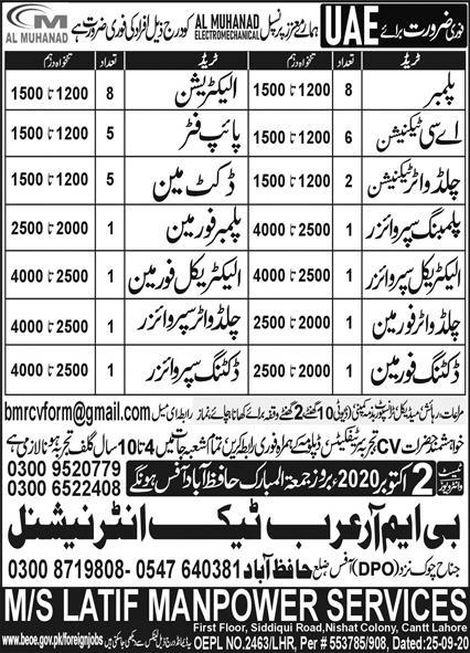 UAE Jobs 2020 for Plumber, AC Technician, Electrician, Pipe Filter, Plumber Foreman, Chilled Water Technician & Others Latest