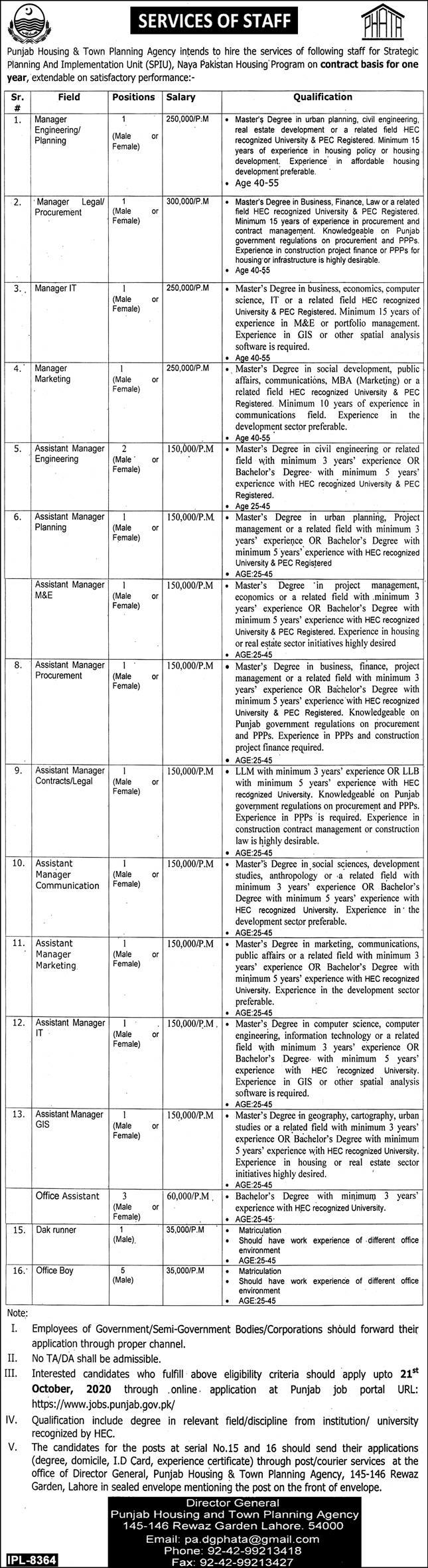 Punjab Housing & Town Planning Agency Jobs 2020 for Manager Engineering Planning, Manager Legal Procurement, Manager IT, Manager Marketing, Assistant Manager Engineering & Others Latest Lahore