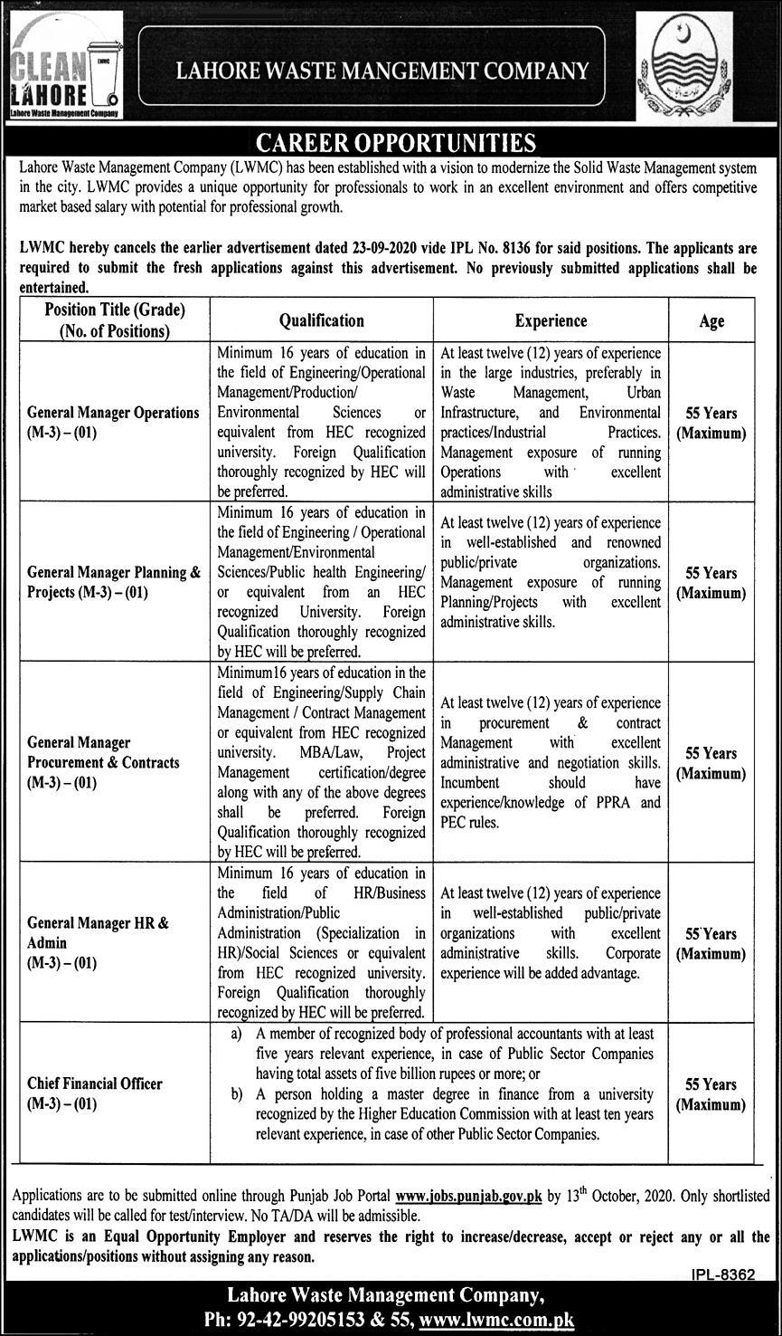 Lahore Waste Management Company LWMC Jobs 2020 for General Manager Operations, General Manager Planning & Project, General Manager Procurement & Contracts, General Manager HR & Admin, Cheif Financial Officer Latest Punjab