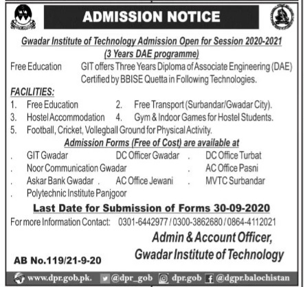 Gwadar Institute of Technology Admissions 2020 in DAE Diploma Latest Balochistan