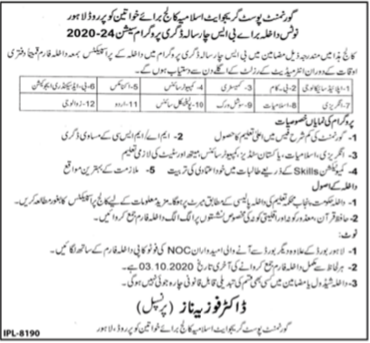 Government Postgraduate Islamiyah College for Women Lahore Admission 2020 Latest Punjab