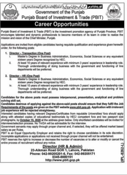 Government of the Punjab Board Of Investment & Trade Lahore October 2020 Jobs for Director Transaction and Director HR Latest Punjab