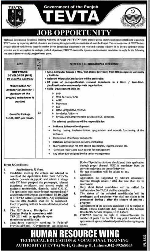 Government of Punjab TEVTA Jobs 2020 for Software Developer Latest Lahore