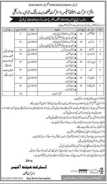 Health Department Thata Jobs October 2020 for Cook, Security Guard and others Latest Sindh