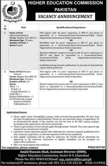 Higher Education Commission Jobs 2020 for Advisor & Director General Latest Islamabad