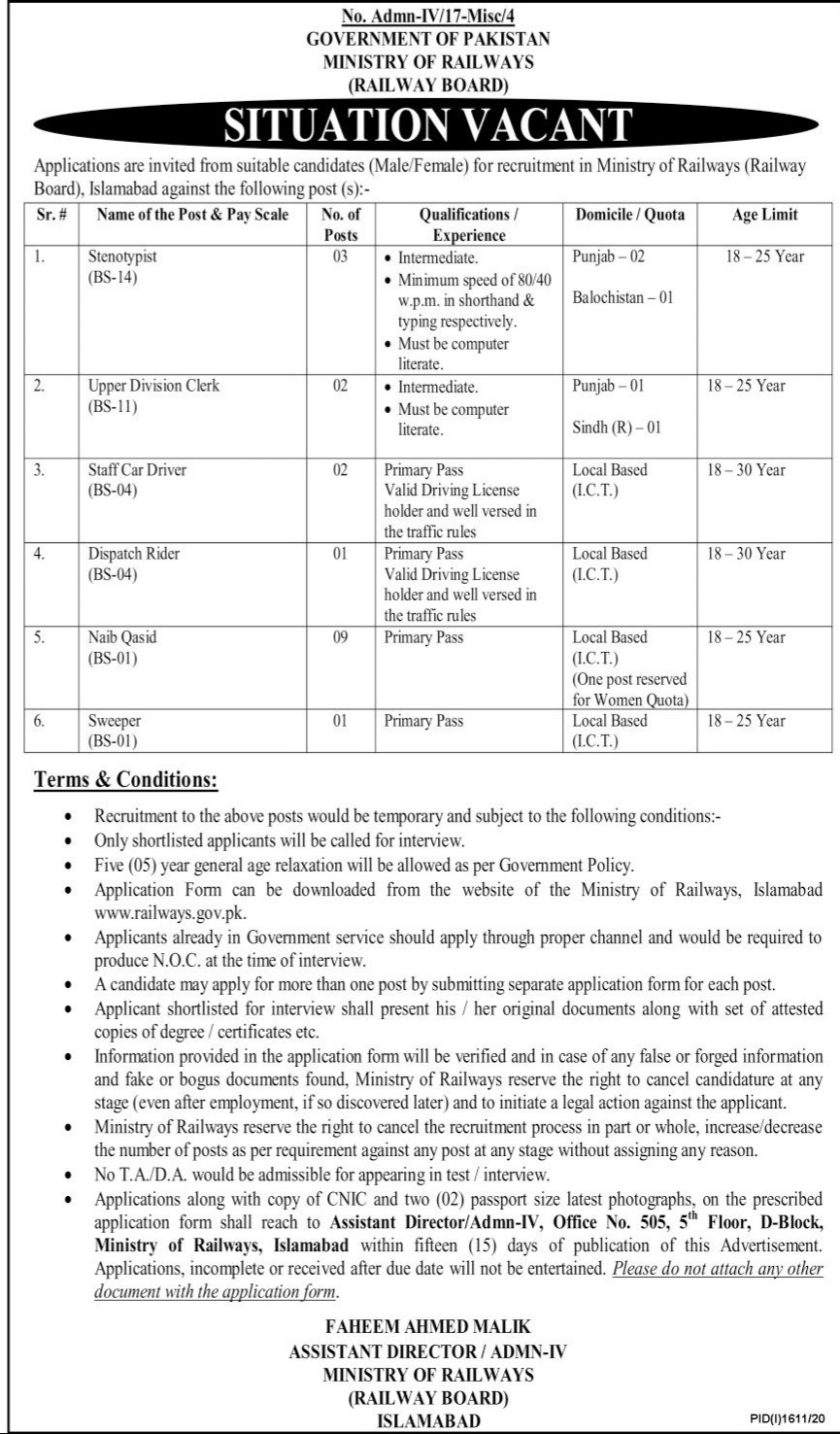 Ministry of Railways Islamabad October 2020 Jobs for Stenotypist, Upper Division Clerk and Others Latest Pakistan
