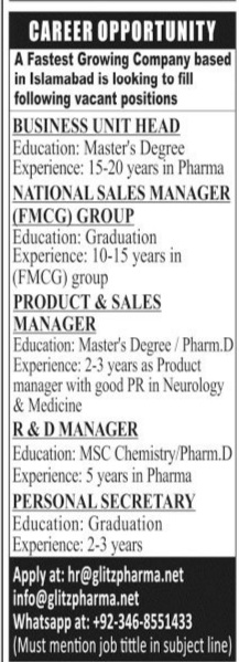 Private Company Jobs 2020 for Business Unit Head, National Sales Manager, Product & Sales Manager, R&D Manager, Personal Secretary Latest Islamabad