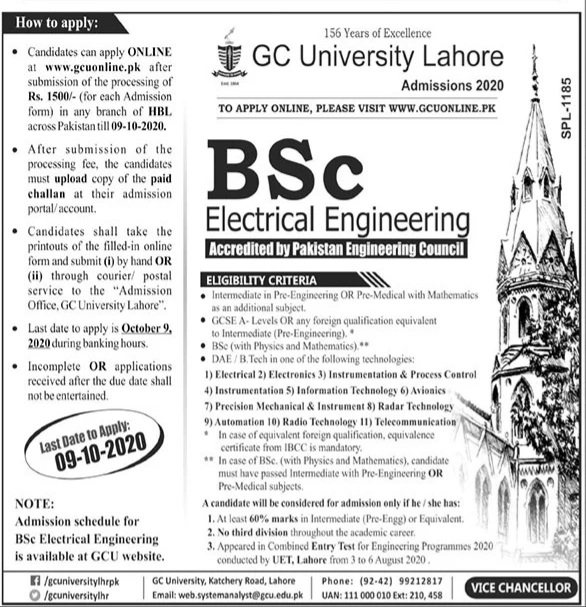 Bsc Electrical Engineering Admissions in GC University Lahore (GCU) Apply Online