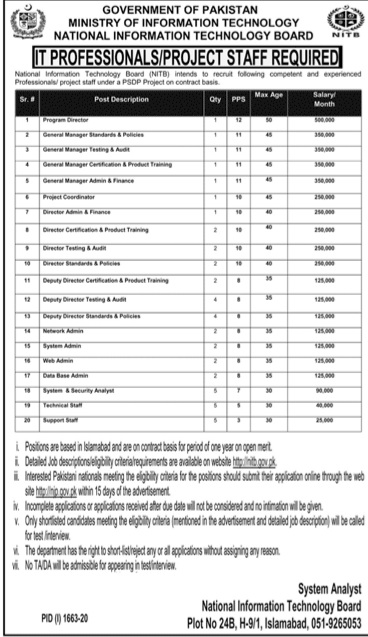 Ministry of Information Technology NITB Jobs 2020 for Program Director, General Manager Testing & Audit, Project Coordinator, Director Admin & Finance, System Admin, Network Admin & Others Latest Islamabad