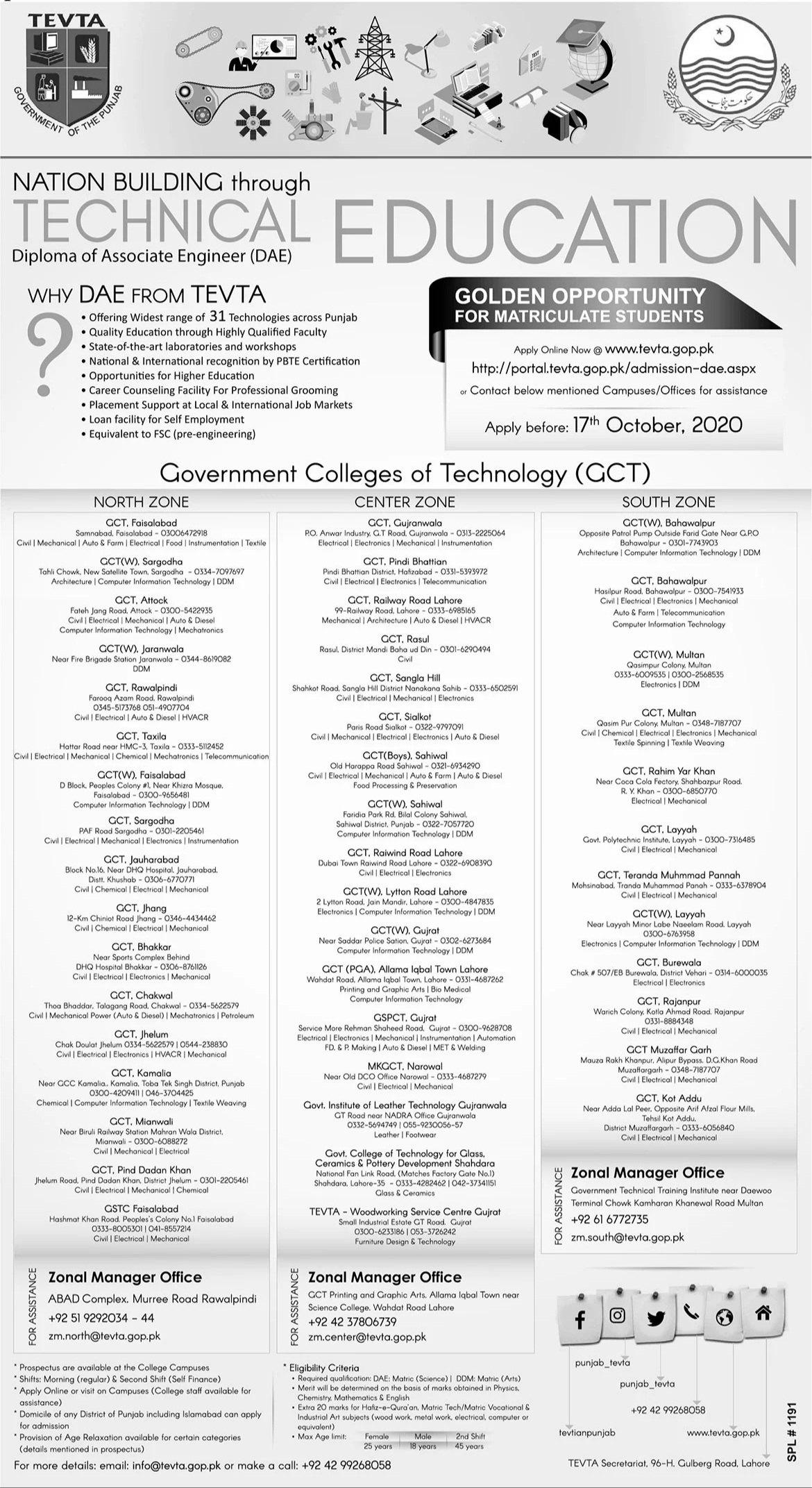 DAE Admissions in TEVTA Government Colleges of Technology (GCT)