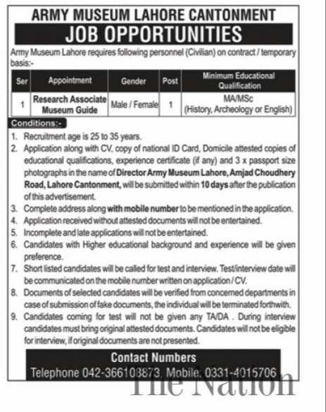 Army Museum Lahore Cantonment Jobs October 2020 Latest Punjab