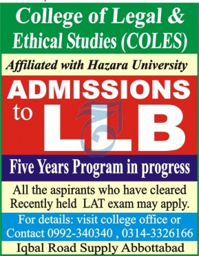 College of Legal & Ethical Studies COLES Abbottabad Admissions 2020 in LLB Latest KPK