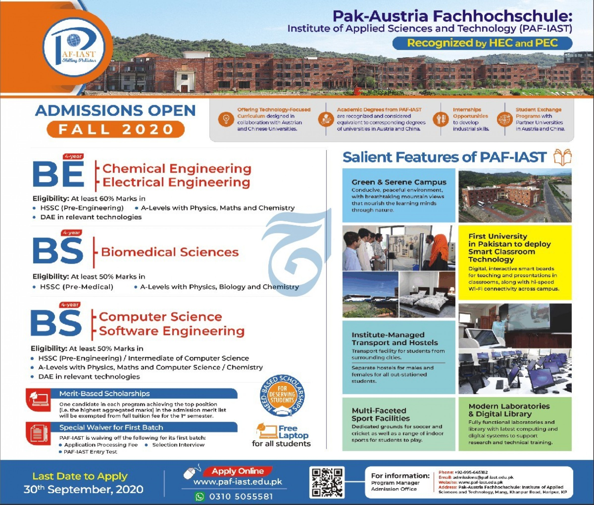 Institute of Applied Sciences & Technology Admissions 2020 Latest KPK