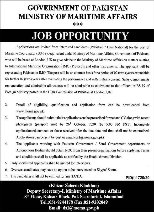 Ministry of Maritime Affairs Islamabad Jobs October 2020 Application Form Latest