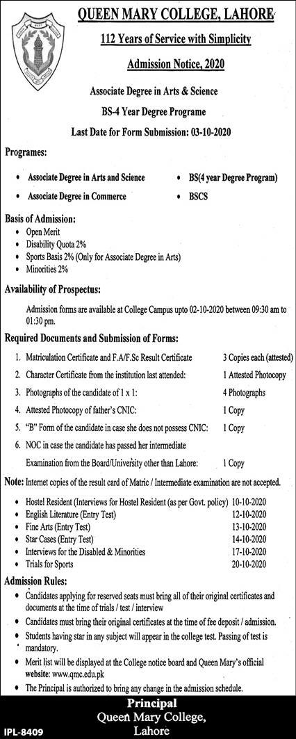 Queen Mary College Lahore Admissions for BS-4 Year Degree Programe