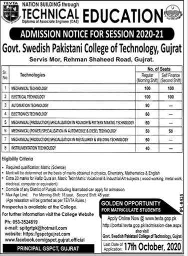 DAE Admissions 2020 in Govt Swedish Pakistani College of Technology Gujrat