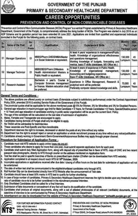 Primary & Secondary Health Care Department Lahore & Islamabad Jobs 2020 for Manager Operations, Manager Technical, Research Assistant Latest Punjab