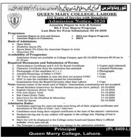 Queen Marry College Lahore Admissions 2020 Latest Punjab