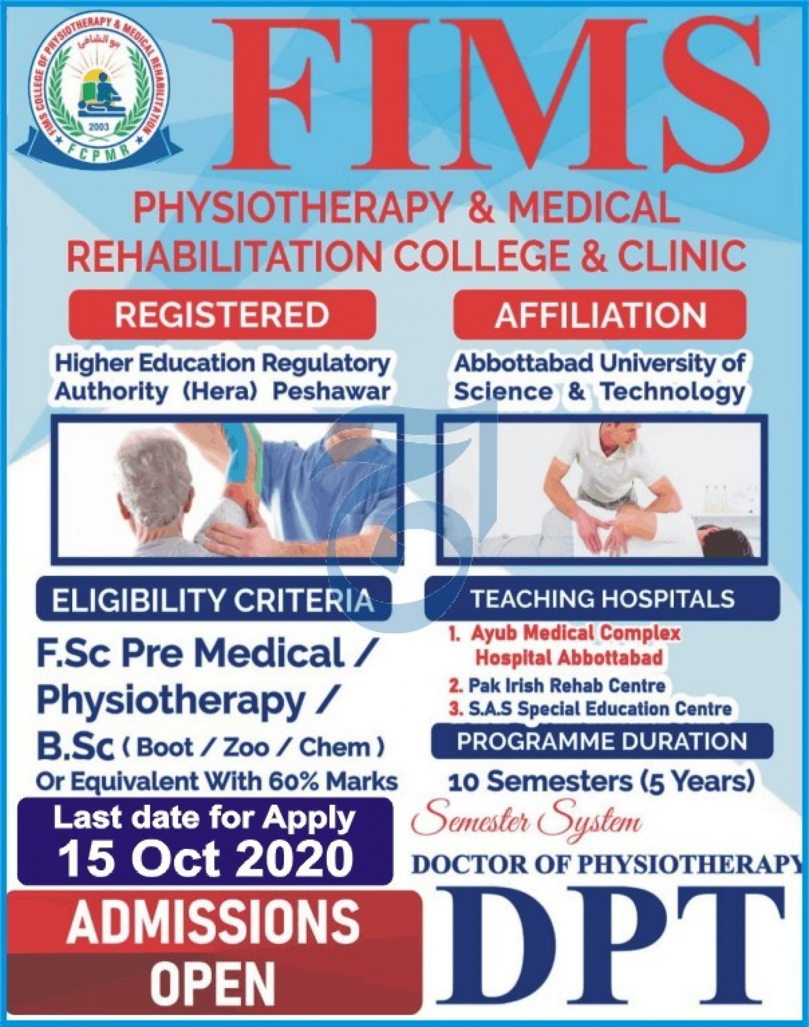 FIMS Physiotherapy & Medical College Rehabilitation College & Clinic Peshawar Admissions 2020 Latest KPK