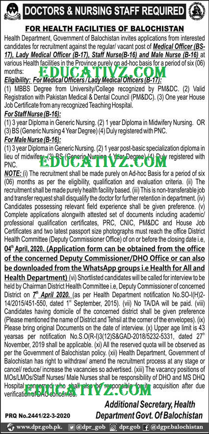 Health Department Government of Balochistan Jobs 2020 for ...
