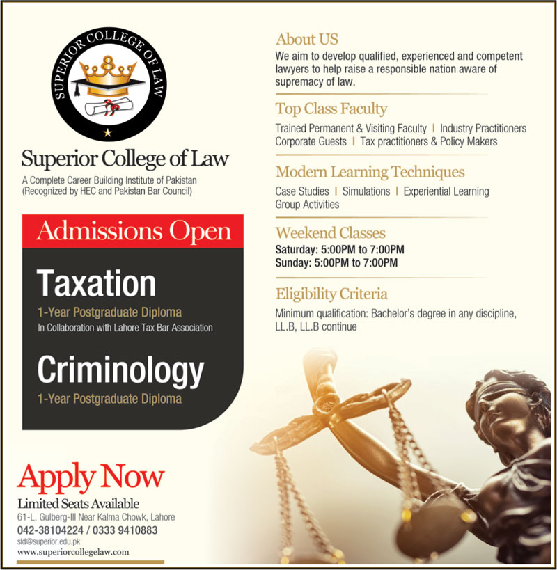 Superior College of Law Lahore Admissions 2021 Latest