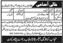59 Punjab Regiment Peshawar KPK May Jobs 2021 For Mess Waiter Latest
