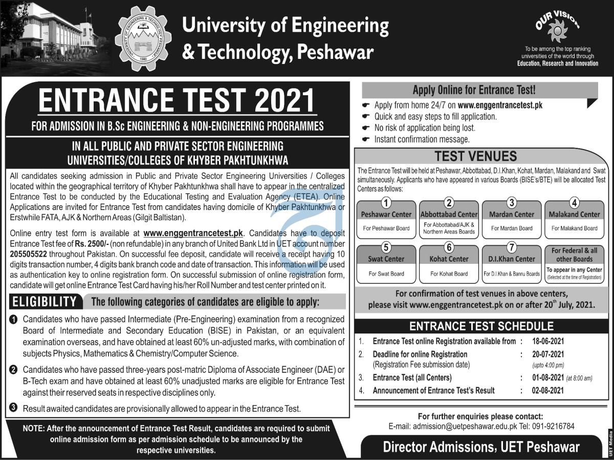 www.engentrancetest.pk Jobs 2021-UET Peshawar