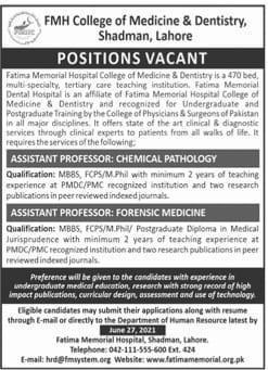 FMH College of Medicine & Dentistry Shadman Lahore Jobs 2021 Latest