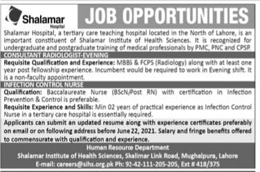 Shalamar Hospital Lahore Jobs 2021 For Consultant & Infection Control Nurse