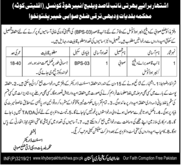 Local Government & Rural Development Department Swabi Jobs 2021 For Naib Qasid