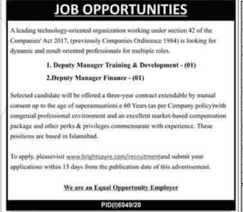 www.brightspyre.com Jobs 2021 For Deputy Manger Latest
