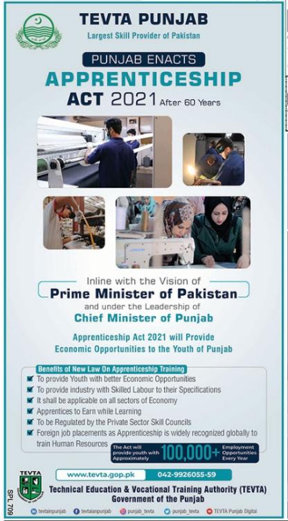 Apprenticeship Program 2021 In TEVTA Punjab Latest