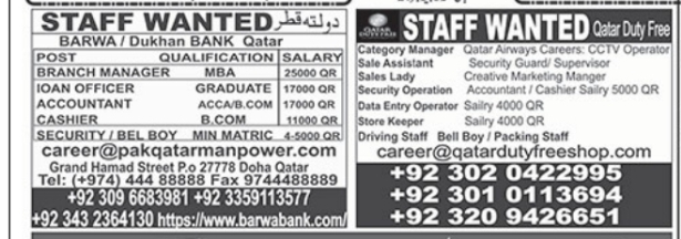 Qatar Jobs 2021 For Accountant, Cashier, Branch Manager & Others