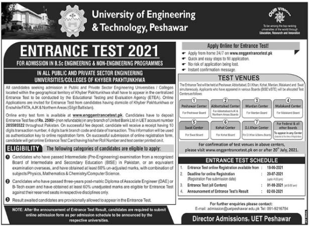 University Of Engineering & Technology Admission 2021 In Peshawar