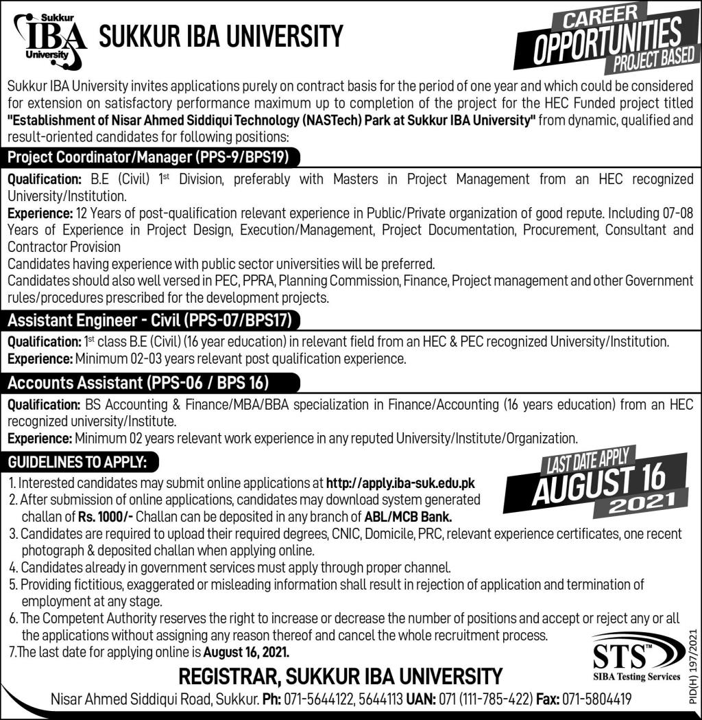 Sukkur IBA University Jobs 2021 - Project Manager, Assistant Engineer & Account Assistant Jobs