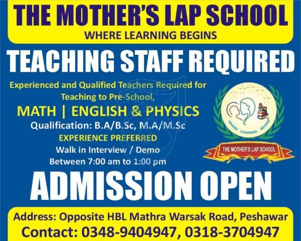 Today Jobs in Peshawar - The Mother's Lap School Jobs 2021