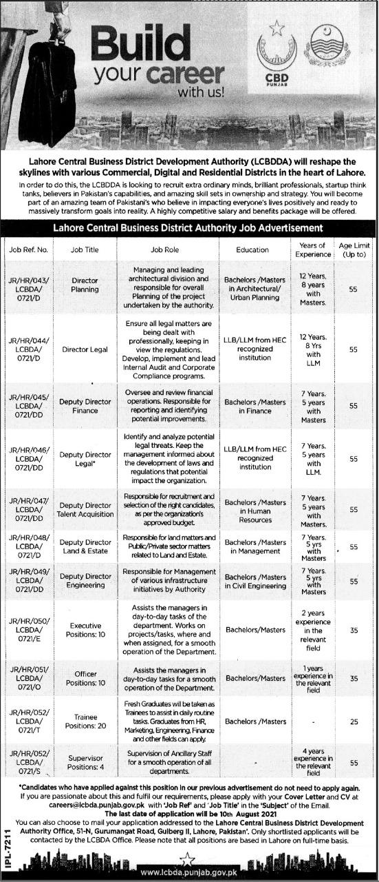 Jobs At CBD Punjab 2021 - LCBDDA Lahore Advertisement